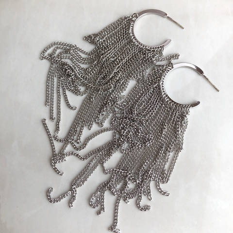 Серьги Бахрома на Колечке, серебряный цвет