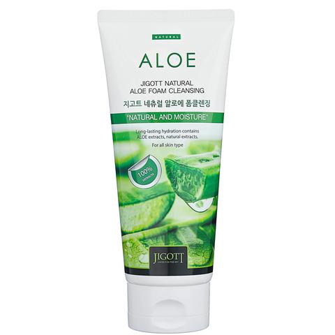 Пенка успокаивающая Jigott  Natural Aloe Foam Cleansing с экстрактом алоэ 180 мл