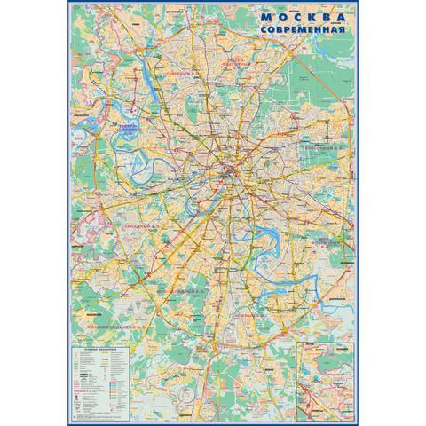 Настенная карта Москва современная 700x1000 мм