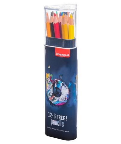 Набор цветных карандашей Bruynzeel Teen Dark 18 цветов в пластиковом пенале-тубусе