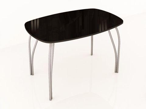 Стол обеденный со стеклом Лотос 1100х700 ЛДСП, металл ТЭКС лакобель черный