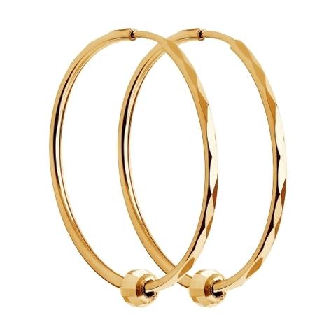 140120 - Серьги-конго Ø10мм из золота 585 пробы с алмазными гранями