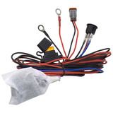 Комплект проводов с разъёмом, кнопкой, реле, предохранителем для фар 4 светодиода ALO-AW3 фото-1