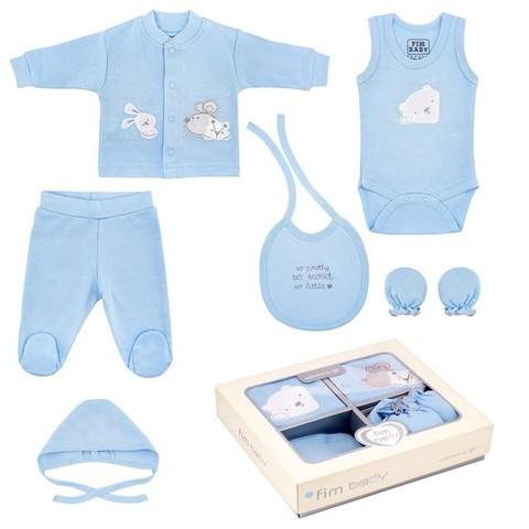 Набор одежды для детей FIMBABY 200077 от 0 до 6 мес. 7 предметов (р.62 синий цвет)