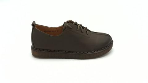 Кожаные ботинки цвета хаки на подошве из натурального каучука