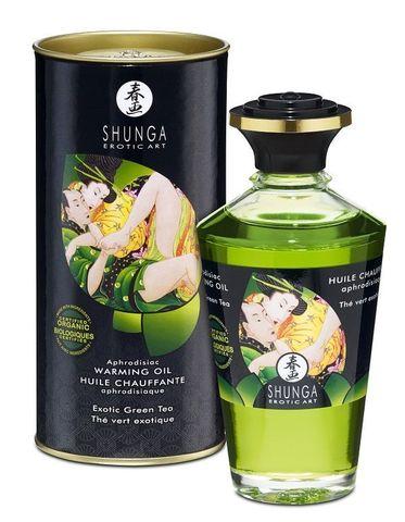 Массажное интимное масло Shunga с ароматом зелёного чая - 100 мл.