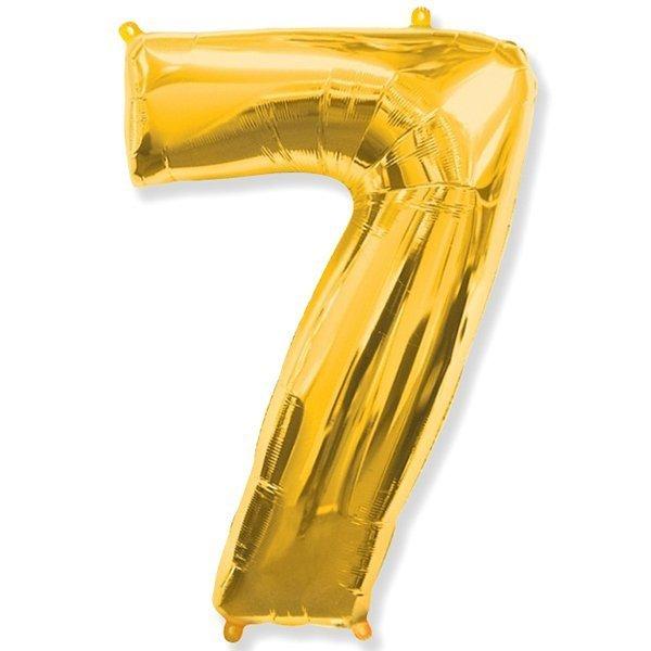 Фольгированная цифра 7, золото
