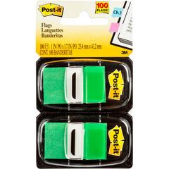 Клейкие закладки Post-it пластиковые зеленые 2 диспенсера по 50 листов 25.4x43.2 мм