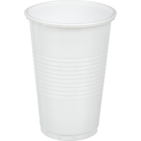 Стакан одноразовый Стандарт пластиковый белый 200 мл 100 штук в упаковке
