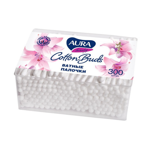 Палочки ватные Aura 300 штук в упаковке