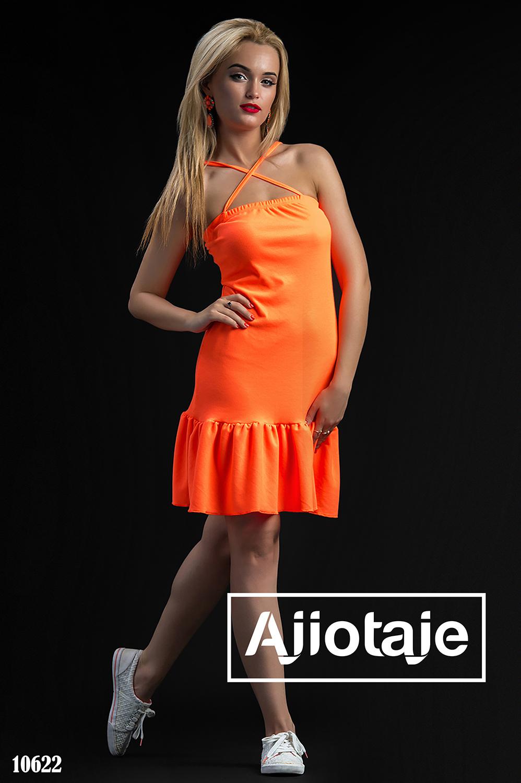 Оранжевое платье с бретельками накрест