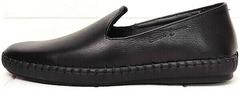 Casual стиль легкие слипоны туфли мужские натуральная кожа Broni M36-01 Black.