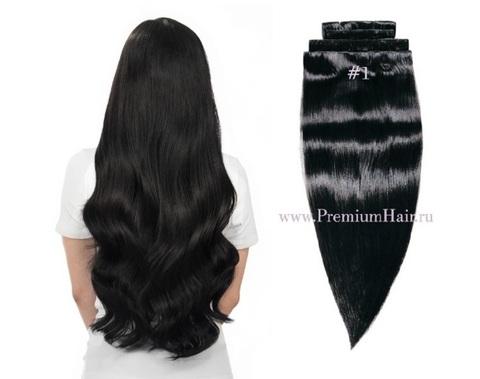 Натуральные волосы на заколках 1 черный