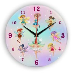 Часы настенные 28 см/ Детские часы Сказочные феи ЧЗ ИДЕАЛ, плавный бесшумный механизм