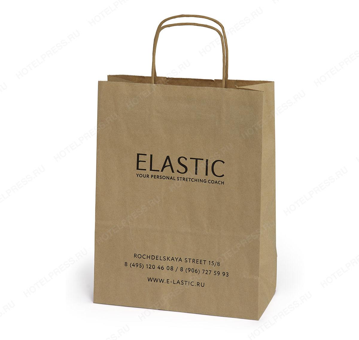 Крафтовый пакет с крученными ручками компании ELASTIC