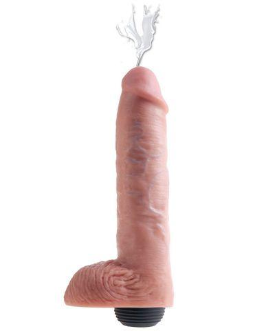 Телесный фаллоимитатор с функцией семяизвержения 11  Squirting Cock with balls - 27,9 см.