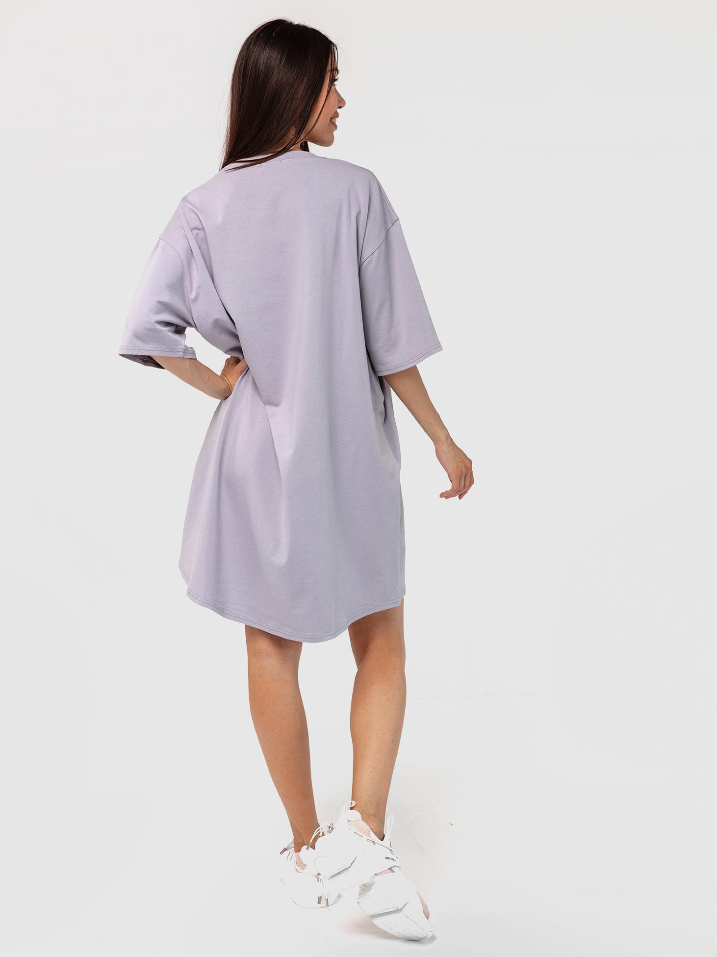 Платье-футболка хлопковое серое YOS от украинского бренда Your Own Style