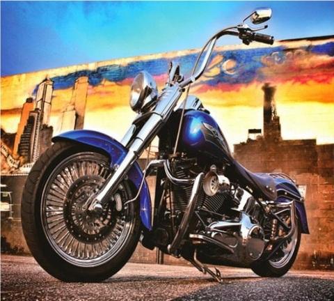 Алмазная Мозаика 40x50 Синий мотоцикл (арт. GA74142 )