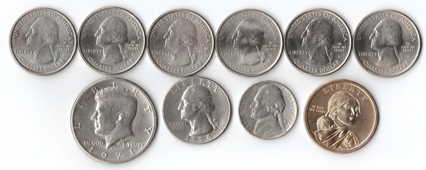 Лот из 10 монет США. 25 центов