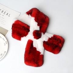 Вязаный меховой шарф-воротник (кролик) красно-белый