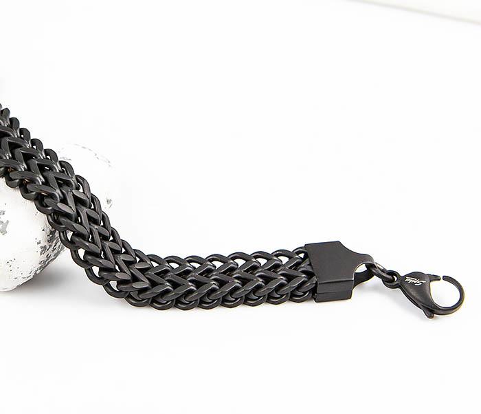SB02MK-12-08 Широкий черный браслет «Spikes» плотного плетения из стали фото 03