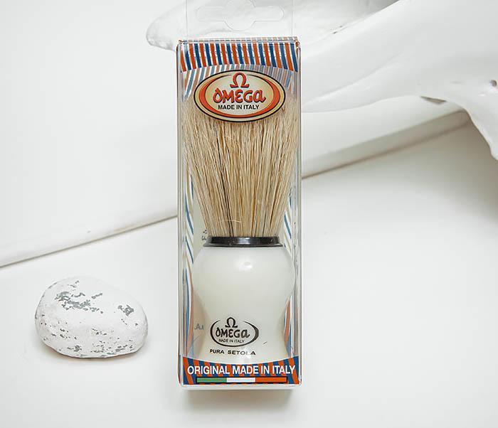 RAZ504 Помазок для бритья «OMEGA» с кистью из щетина кабана фото 02