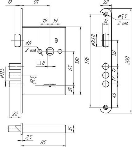 Замок врезной ЗВ9 902.0.0 (5 ключей) МЕТТЭМ