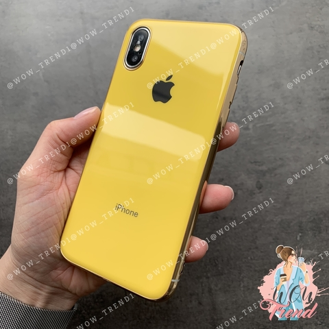 Чехол iPhone X/XS Glass Silicone Case Logo /yellow/