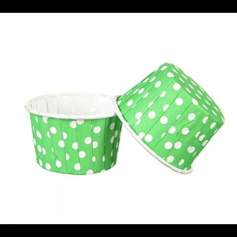 Капсулы для капкейков усиленные, зеленые в горох,20шт,50*30мм