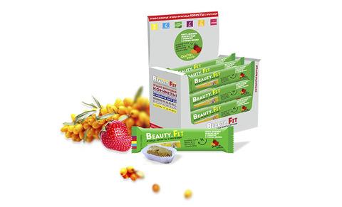 Ягодно-фруктовые конфеты с протеином «Beauty.Fit» Облепиха и Клубника, без сахара, 63 г