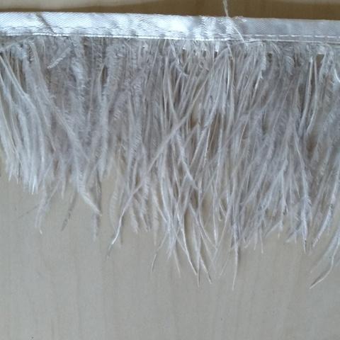 Тесьма  из перьев страуса h 8-10 см., пепельный