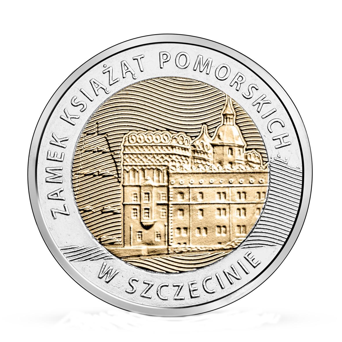 5 золотых Штеттинский замок  в Щецине 2016 г. UNC