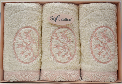 BUKET-БУКЕТ салфетки махровые 3 предмета 30х50 Soft Cotton (Турция)