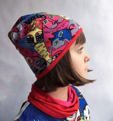 Детская шапочка бини с принтом Красные коты