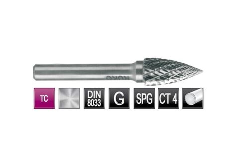 Бор-фреза твердосплавная G(SPG) 10,0х20x6x60мм HM Ruko 116027 (В)