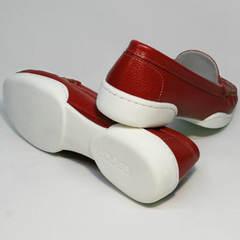 Красные кожаные мокасины женские Evromoda 042.5710 WRed.