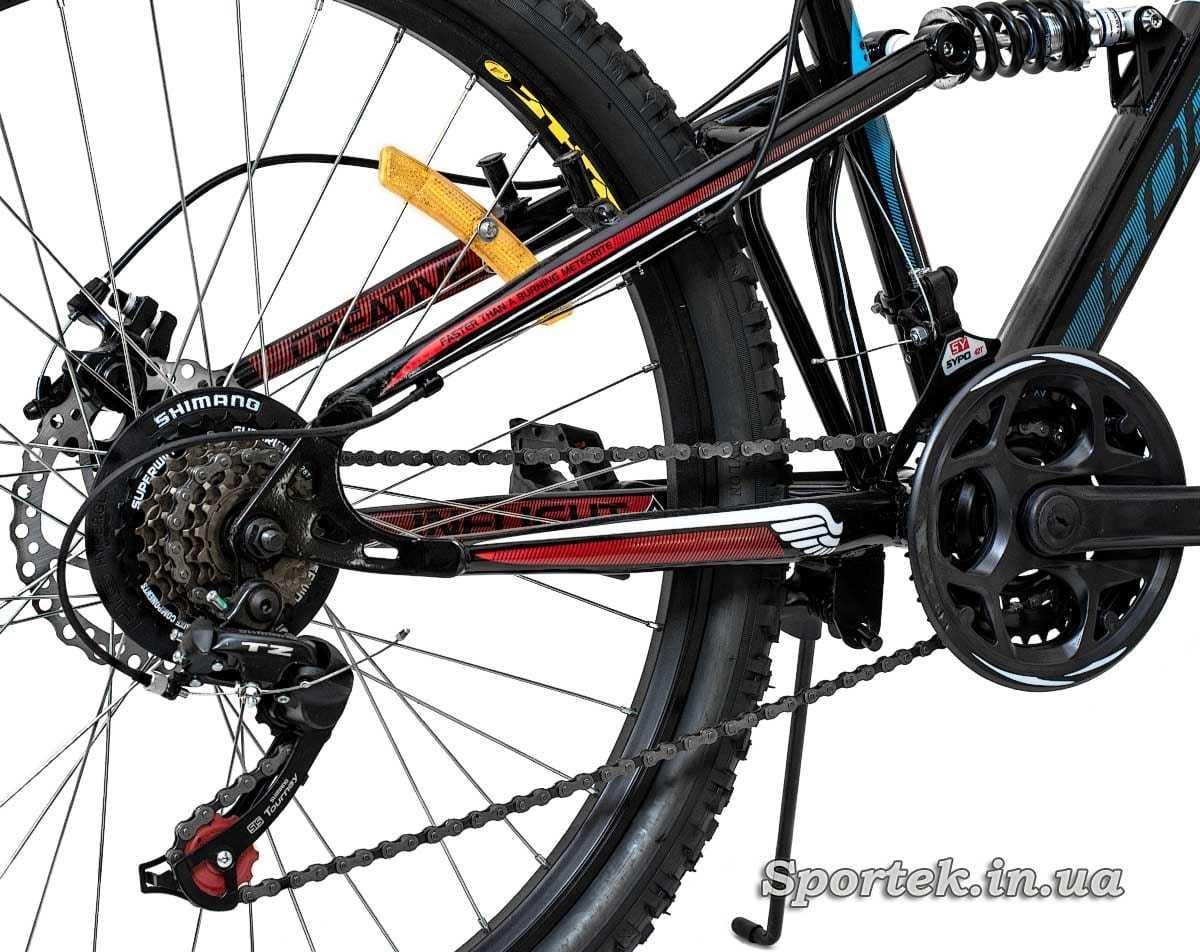 Задній амортизатор і трансмісія гірського універсального велосипеда Formula Blaze DD 2016
