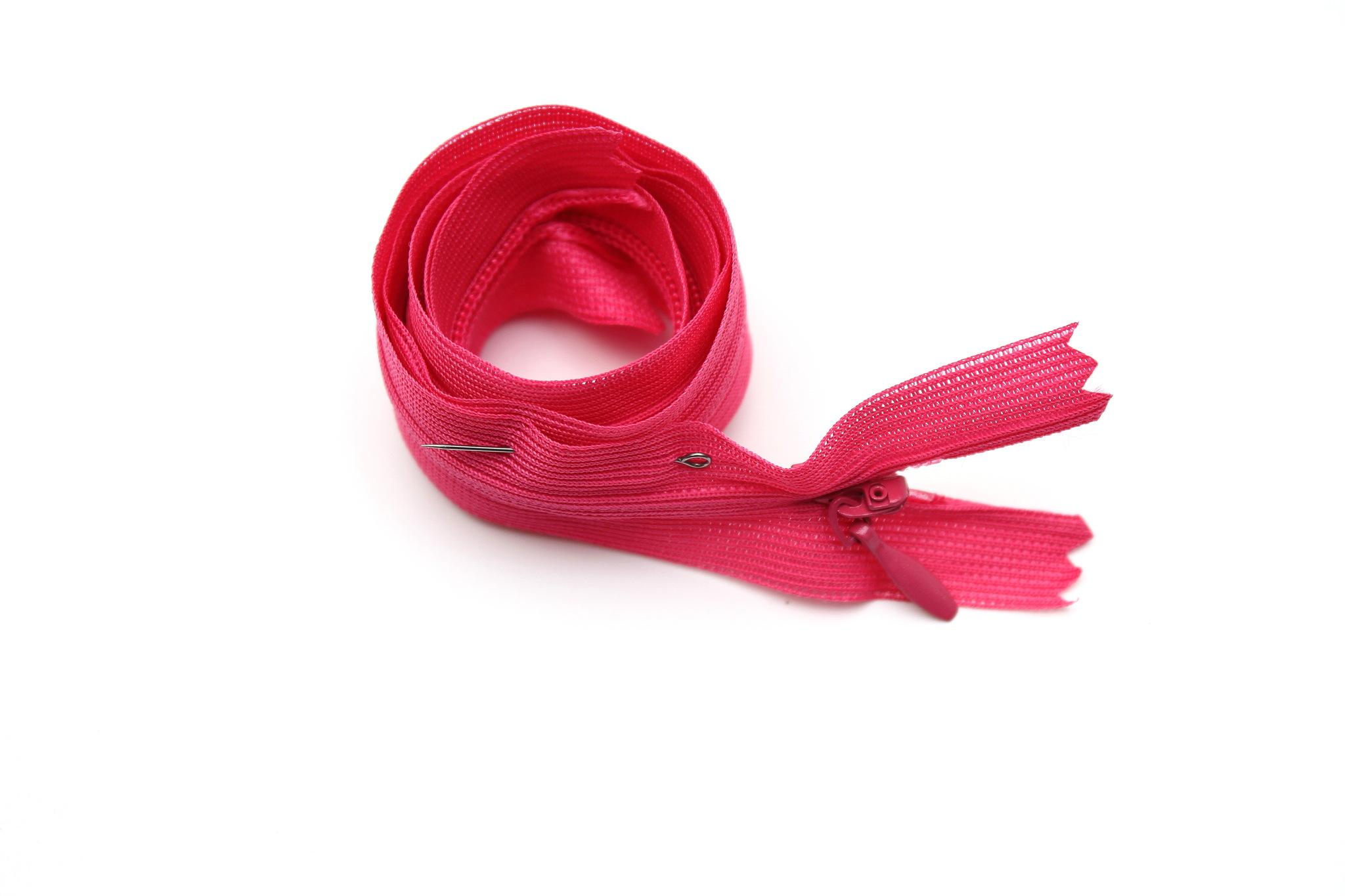 Потайная молния,50см(ярко-розовая)