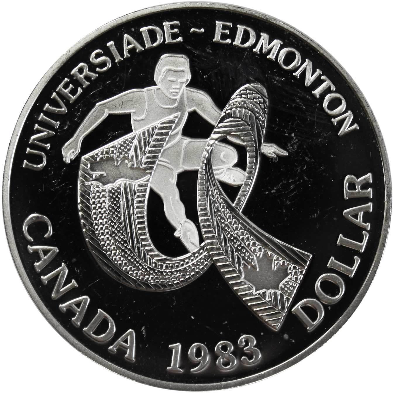 1 доллар. XII Универсиада в Эдмонтоне. Канада. Серебро. 1983 г. PROOF