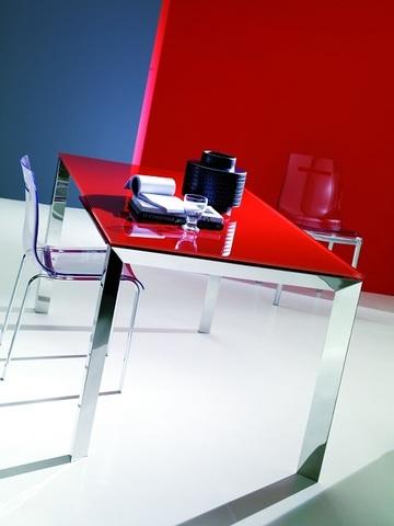 Стол SIRIO (42,38G) 110/150х75хН75 см (G093 LEGS/ M089 FRAME/C152 черн глянц ст) (обеденный, кухонный, для гостиной), Материал каркаса: Металл, Цвет каркаса: Хром+Рама Алюминий, Материал столешницы: Стекло закаленное, Цвет столешницы: Чёрный глянцевый С152, Цвет: Черный