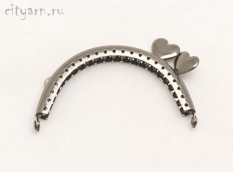 Фермуар цвета тёмного металла с сердечками сбоку, размер 8.5*6 см, код 994089