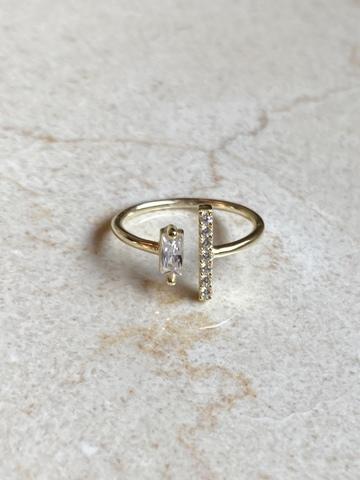 Кольцо Дуо из позолоченного серебра с прозрачным цирконом