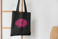 Сумка-шоппер с принтом Цветы (Герберы) черная 002