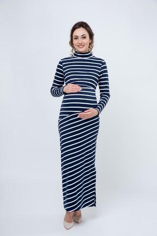 Платье для беременных и кормящих 09181 синий