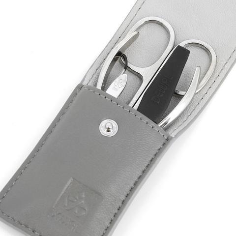 Маникюрный набор Dewal, 4 предмета, цвет серый, кожаный футляр
