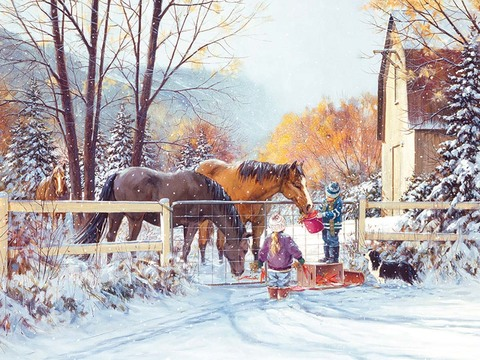 Картина раскраска по номерам 40x50 Лошади и дети