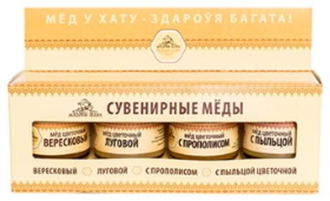 Мед с кочевых пасек Сувенирный набор №1 4*50г. Мядовы шлях