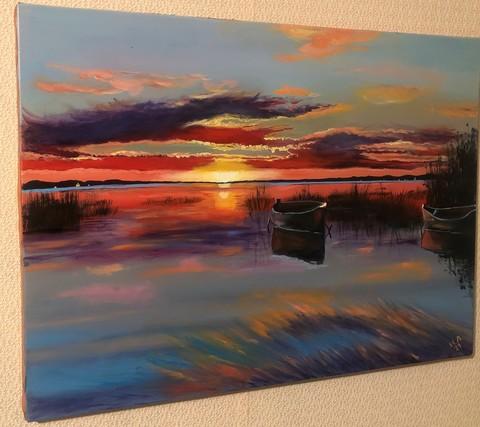 Картина маслом на холсте Закат на озере. 50х70 см. Ручная работа.