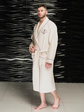 Мужской вафельный халат  PATRICK кремовый