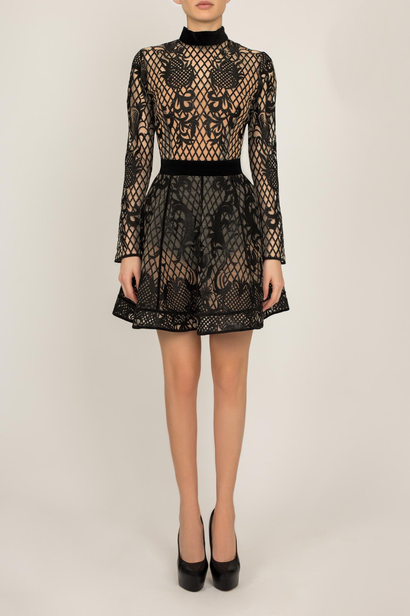 Платье черное из сетки с имитацией боди